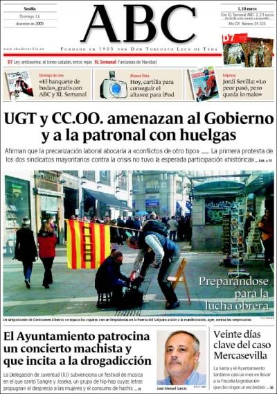Portada del ABC de Sevilla del domingo 13 de diciembre de 2009