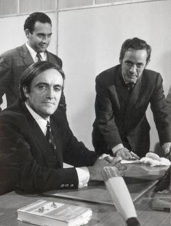 Enrique Fernández Porras preparando un episodio con Félix Rodríguez de la Fuente