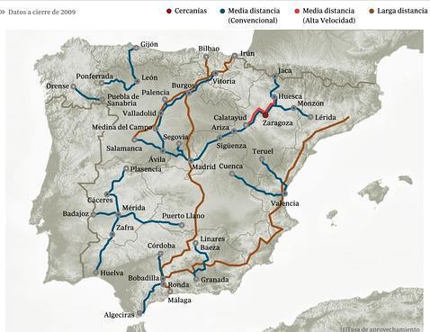Líneas de tren en peligro según ABC, incluyendo la Granada-Murcia